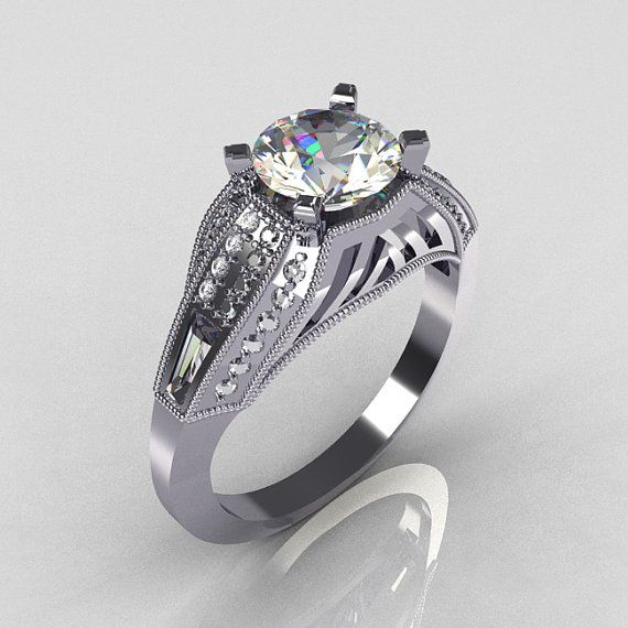 AztecEdwardian 18K White Gold 1.0 CT Round and by artmasters, $1749.00