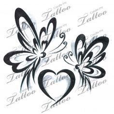 Butterflies and heart tattoo