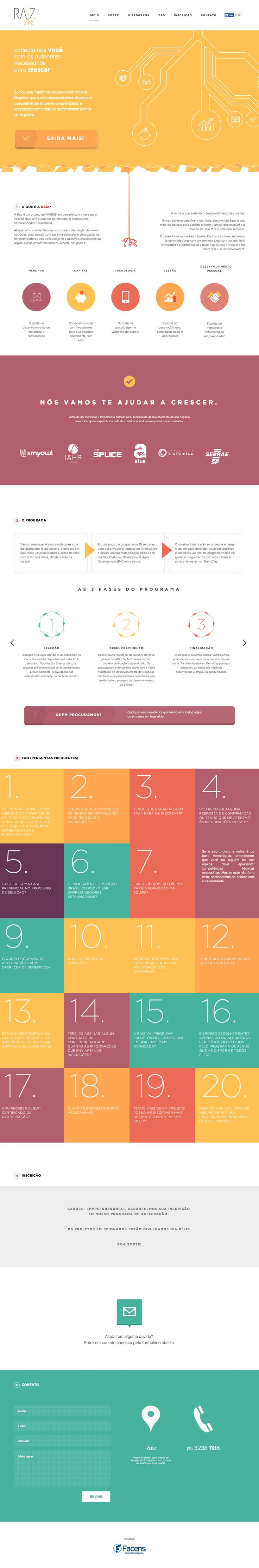 Some neat load transitions and a clean flat design in this one pager for a Brazilian startup accelerator program called 'Raiz'.