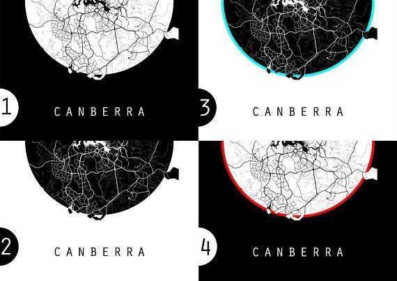 Canberra Map Australia Map Black And White Map Minimalistic