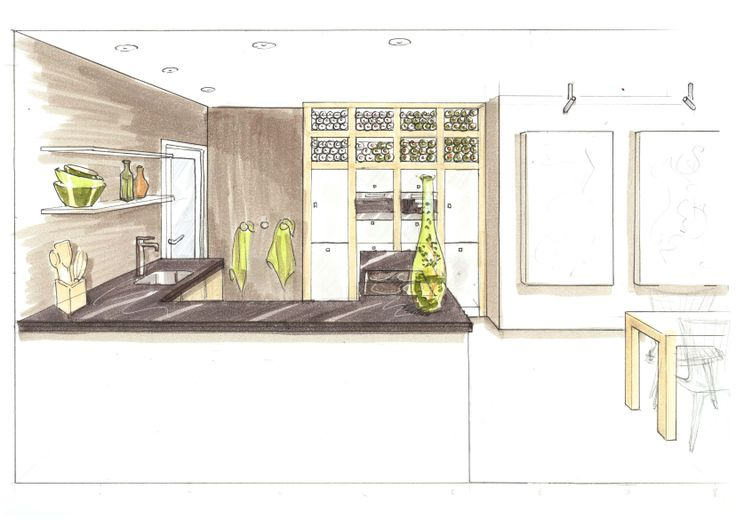 3D sfeertekening moderne keuken bungalow. Vrij ontwerp door Ridesign: Ria Bernards