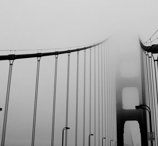 infamous rolling fog.   golden gate bridge.