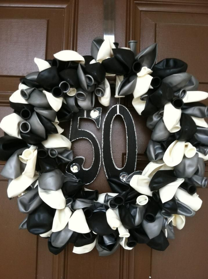 I made a balloon wreath for my mothers 50th birthday for 50th birthday decoration ideas