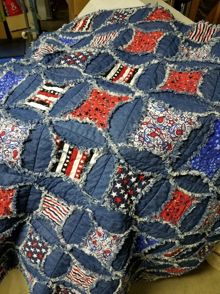 Denim And Patriotic Rag Quilt Quilts I Have Made