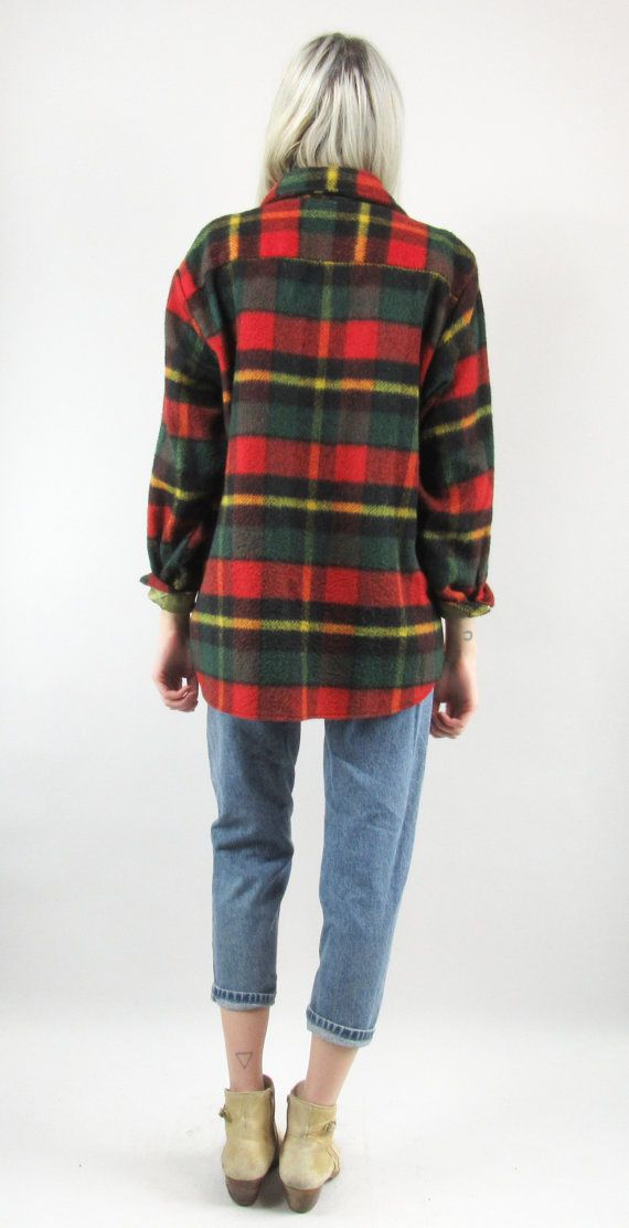 Vintage Mens Wool Jacket Red and Green Plaid 60s Button Up