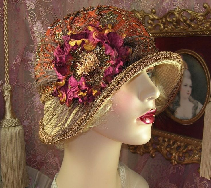 """DO NOT PURCHASE: SOLD TO AMBER ROSE"" BROWN SAFFRON DK ROSE CLOCHE FLAPPER HAT #PatriciaJosephineAntiqueStyleDesign"