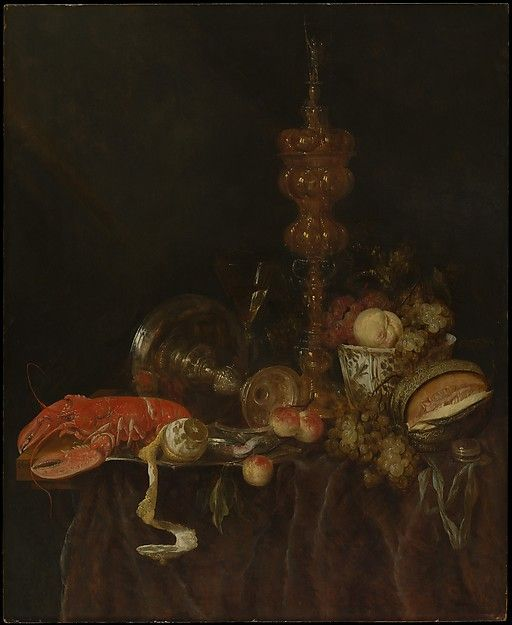 Still Life with Lobster and Fruit   Artist: Abraham van Beyeren (Dutch, The Hague 1620/21–1690 Overschie) Date: probably early 1650s Medium: Oil on wood Dimensions: 38 x 31 in. (96.5 x 78.7 cm)