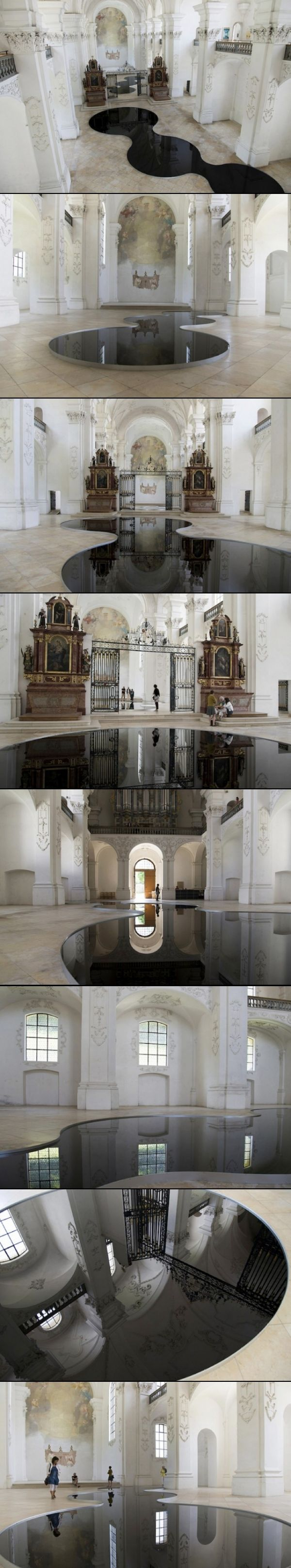 "Installation of Romain Crelier located in Bellelay, Switzerland, 'La mise en Abyme"" is composed of large basins filled with used motor oil in which the image of spectators is reflected in the abbey grandiose baroque decor. A very interesting diversion work"