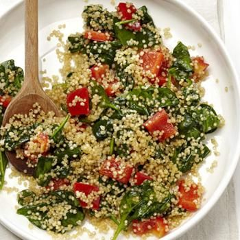Quinoa Spinach Stir-Fry - Phase 1 if you stir fry the peppers in water or broth & Phase 3 cooking the recipe as written