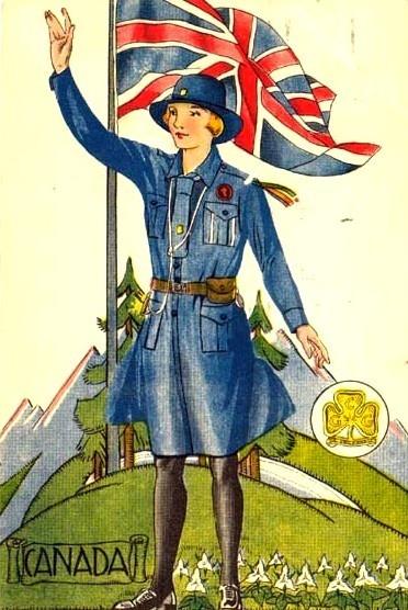 Alte Postkarte mit kanadischer Pfadfinderin - Die kanadische Fahne mit dem Ahornblatt wurde erst 1965 eingeführt ----  Vintage Canadian Girl Guide postcard..notice the Union Jack...the Canada Flag was not used until Feb 15, 1965!