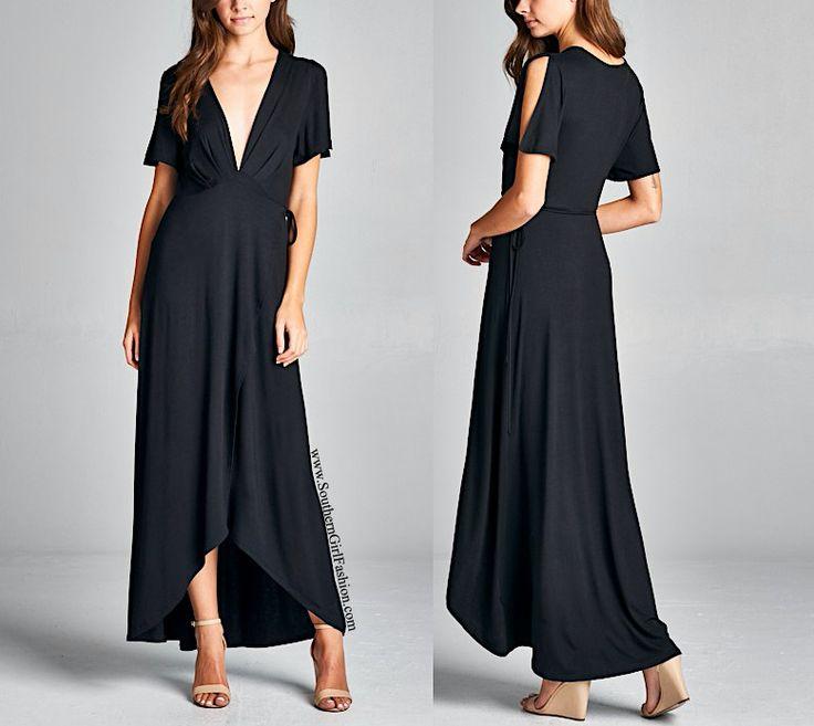 SOUTHERN GIRL FASHION  Black Maxi Dress Surplice High Low Long Draped Wrap Gown  | eBay