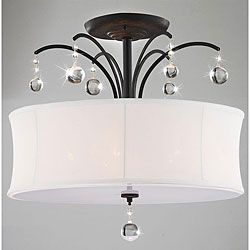 @Overstock - This indoor 5-light chandelier features an antique bronze finish with a single white shade. The clear crystal adds elegance to this lighting fixture and coalesces style with elegance.http://www.overstock.com/Home-Garden/Indoor-5-light-Antique-Bronze-White-Shade-Flush-Mount-Chandelier/5152198/product.html?CID=214117 $128.99