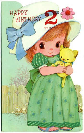 Vintage greetings card - Happy Birthday 2 today by Dilys Treacle Treasures, via Flickr