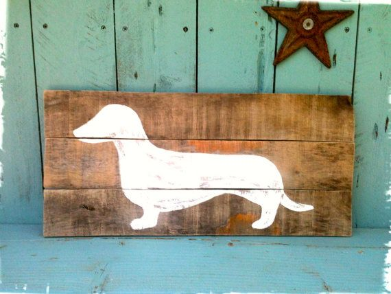Customizable Wood Sign - Dachshund, Wall Art, Vintage Sign, Reclaimed, Rustic on Etsy, $36.00