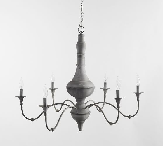 This graceful iron chandelier has a zinc finish that gives its classic french silhouette an updated look part of our brookings collection it mixes well