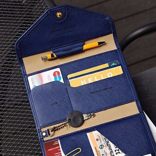 To all stylish and savvy travelers, this is for you! This wallet will hold your passport, ID cards, keys while you fly to your next destination. Contains: Zipper pocket Receipt pocket Passport pocket
