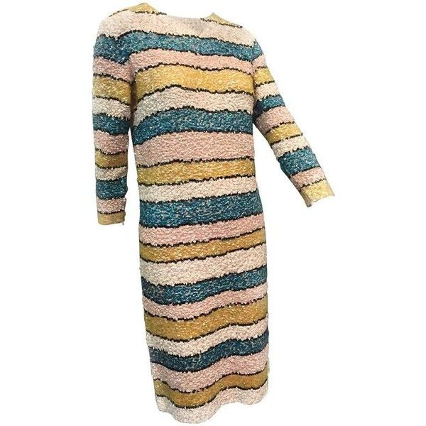 Preowned 1960s Imperial Wool Knit Striped Sequin Cocktail Dress In... ($800) ❤ liked on Polyvore featuring dresses, beige, cocktail dresses, beige sequin dress, beige cocktail dress, sequin embellished dress, pastel cocktail dress and beige dress
