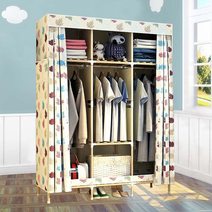 4 STYLE  Double solid wood wardrobe storage large combination of cloth wardrobe simple fabric solid wood wardrobe  #Affiliate