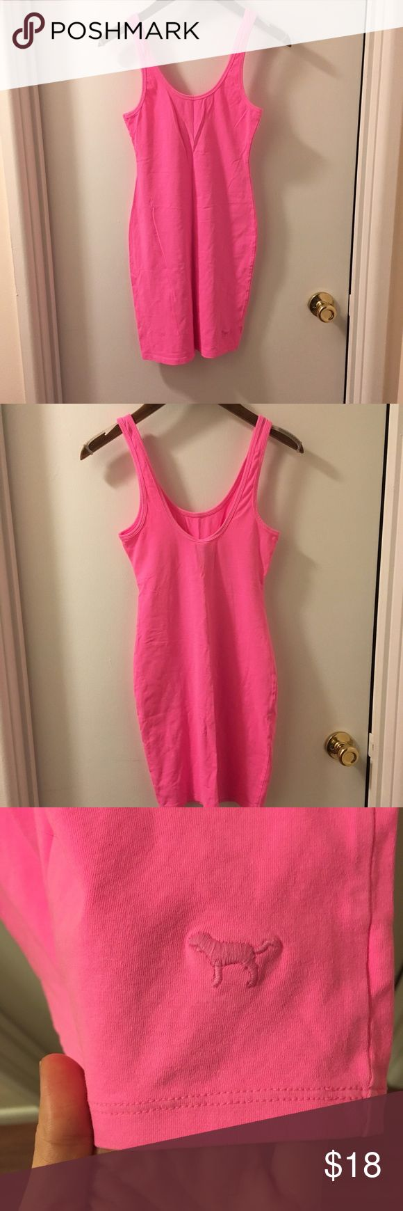 Pink dress ⚡️bogo 50% Pink fitted double scoop neck dress  NWOT never worn  Size xs Color hot pink  95% cotton, 5% elastane Will steam/iron before ship*  Limited time offer ⚡️bogo 50% off my closet discount on equal or lesser item PINK Dresses