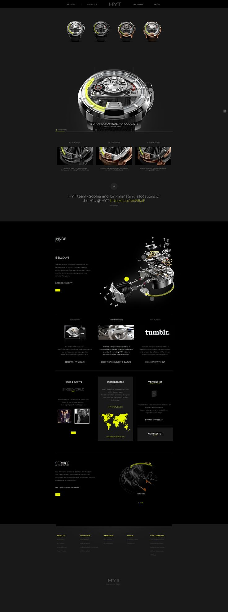 pinterest.com/fra411 #webdesign -I think the appeal of this site is 90% about how dam cool this watch is. The other 10% is easy when you have great diagrams and a slick accent color. Yeah Buddy!