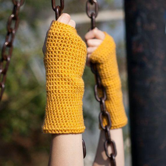 Yellow Mustard Fingerless Gloves / Yellow Crochet Arm Warmers / Mustard Wrist Warmers / Fall Winter Accessories Gloves / Christmas Gift Idea