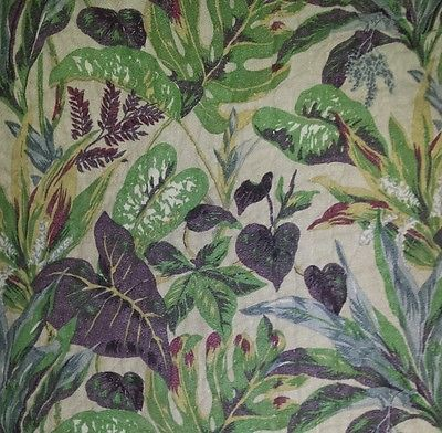 Pine Cone Hill Bark Cloth Palm Fern Leaves MCM Quilted Twin Coverlet Bedding