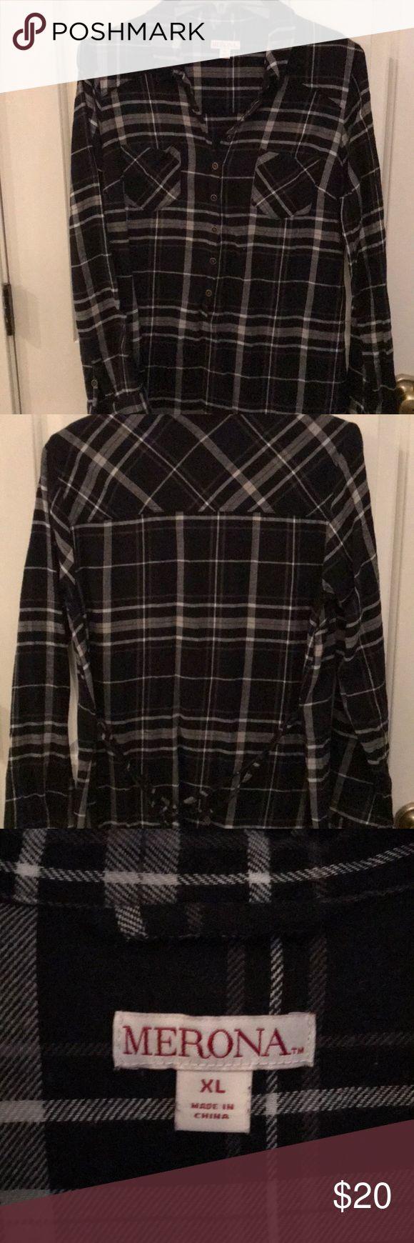 Merona Flannel Shirt Dress Black and White plaid Merona flannel shirt dress.  Worn once for family pics ❤️ super cute, warm and comfy. Merona Dresses Midi