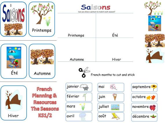 French Seasons Lesson Plan and Resources by FrenchResourcesByJo