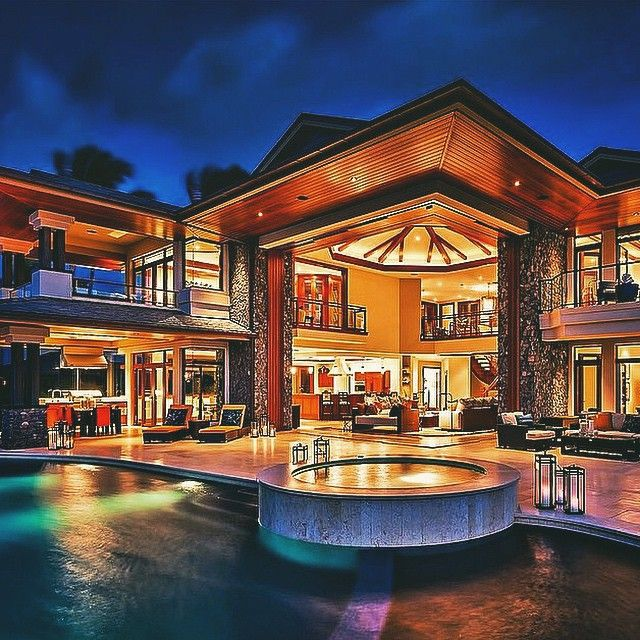 Mega mansion in Hawaii, with an open concept.