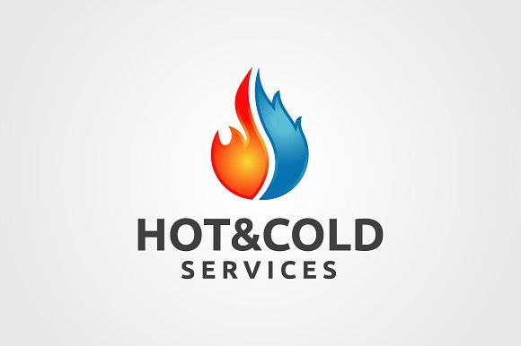 Hot And Cold Services Cool Business Cards Logo Design Template
