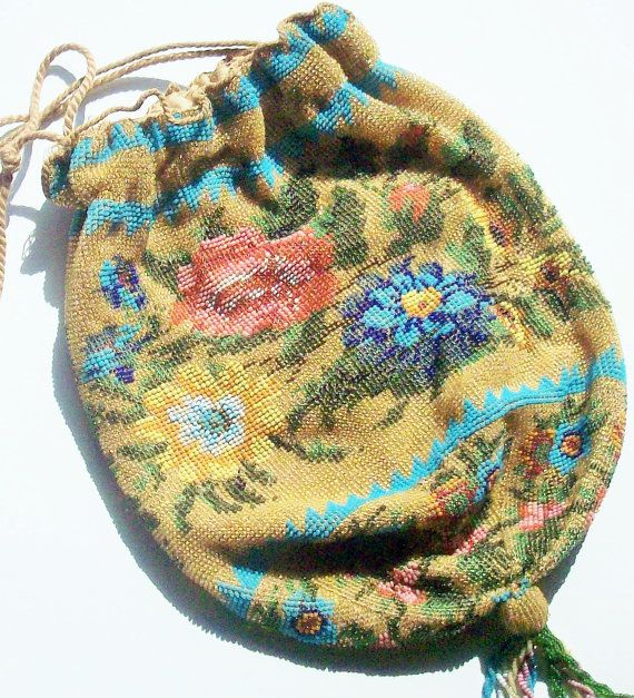 Antique MicroBeaded Bag / Stunning Detail and Color by rustfarm, $362.00