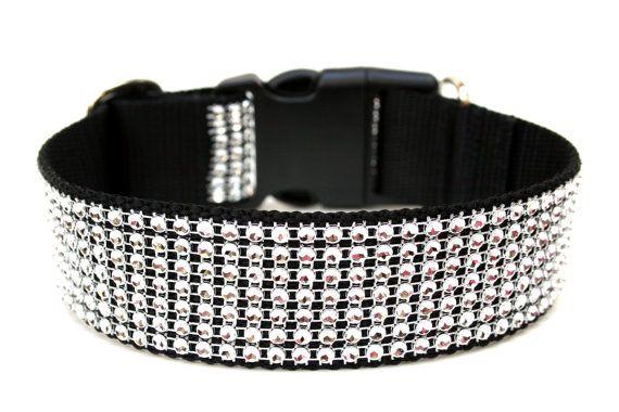 Rhinestone Dog Collar 1.5 Silver Dog Collar SIZE by Wagologie