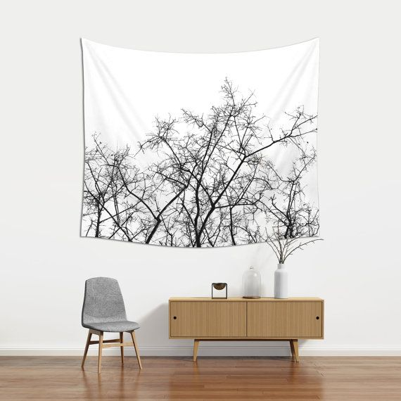 Tree Branches Wall Tapestry Black And White Dorm by Macrografiks