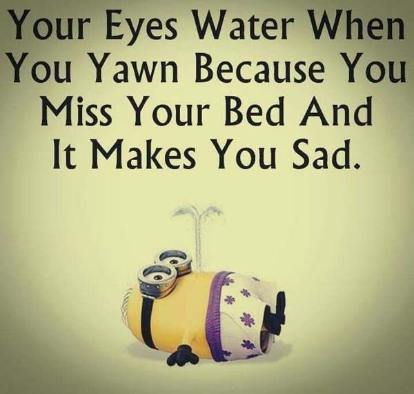 Your Eyes Water When You Yawn Because You Miss Your Bed & It Makes You Sad!