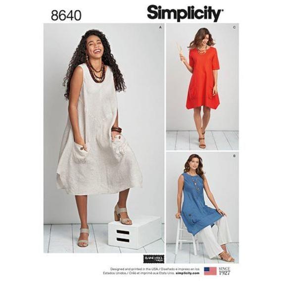 plus size dress tunic sewing pattern simplicity s8640 sizes etsy