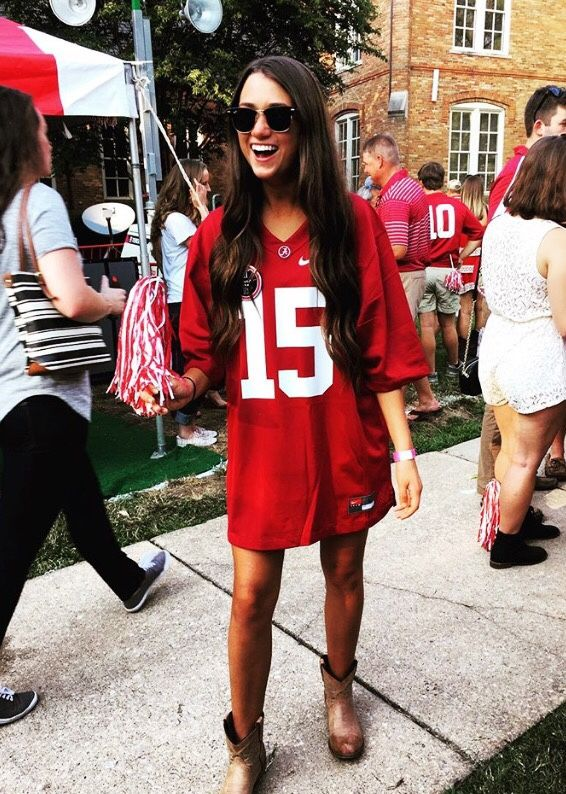 the college gameday has become a fashion event with girls taking the game jersey and basic athletic gameday apparel and making it to a fashion forward look - Haley Osteraa