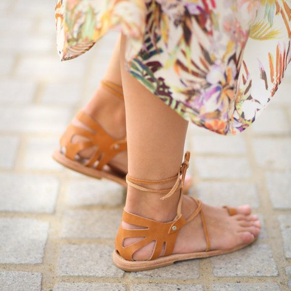 CRETE Lace Up Natural Leather Sandals Womens by TheMerakiCompany