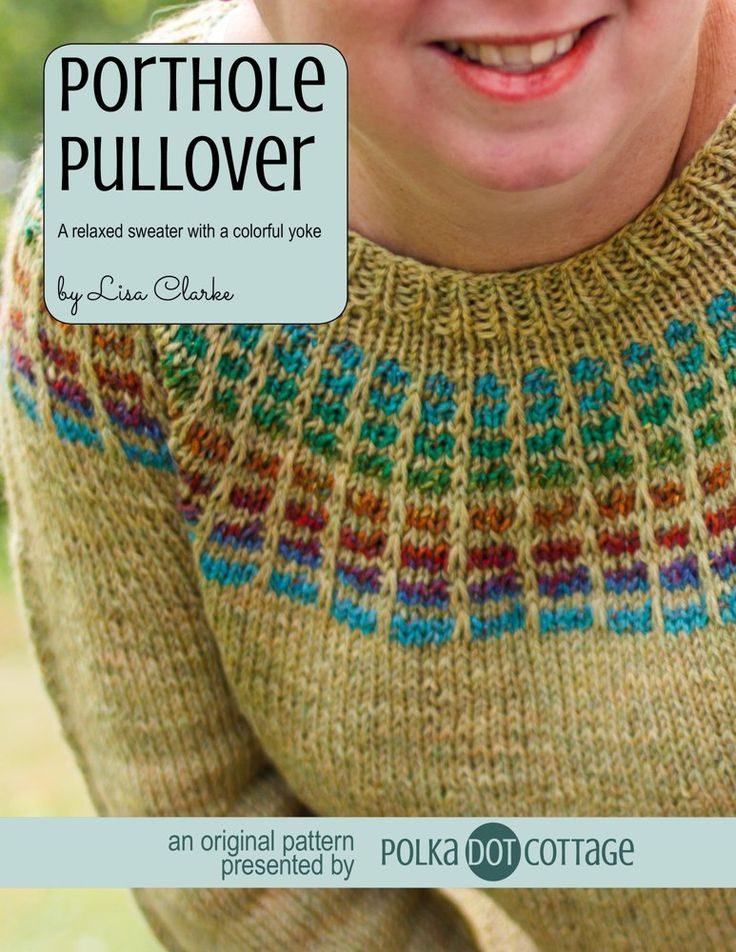 The Porthole Pullover's colorful yoke is inspired by that of the Porthole Cardigan baby sweater (also in my shop) and is deceptively simple to achieve. Through the use of self-striping yarn and strategically-placed slip stitches, even a beginner can knit this look.This is a relaxed sweater. It's a hang around the house on a chilly weekend kind of sweater. It's meant to be roomy and comfortable, and that's what you get if you work the pattern without any of the optional shaping. If, however…