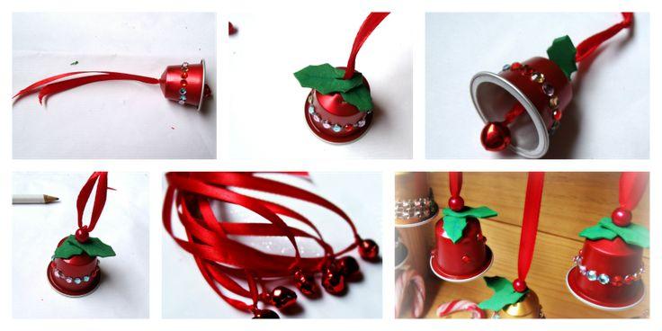 campana con cápsulas de café. Decoración navideña para los niños. Christmas decor for kids. Bells.