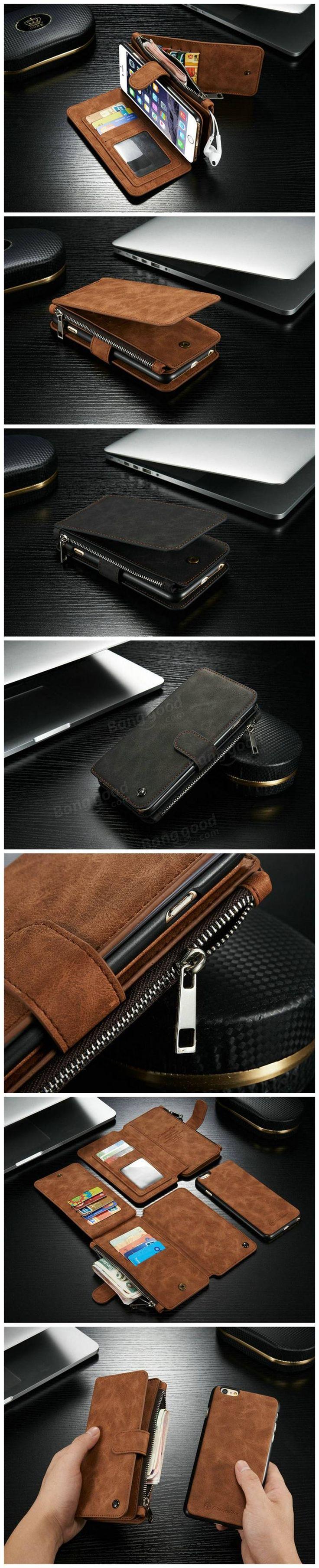 Vintage Leather Multi Function Wallet Card Pocket Zipper Flip Case Cover For Apple iPhone 6 6s 4.7 Sale - Banggood.com