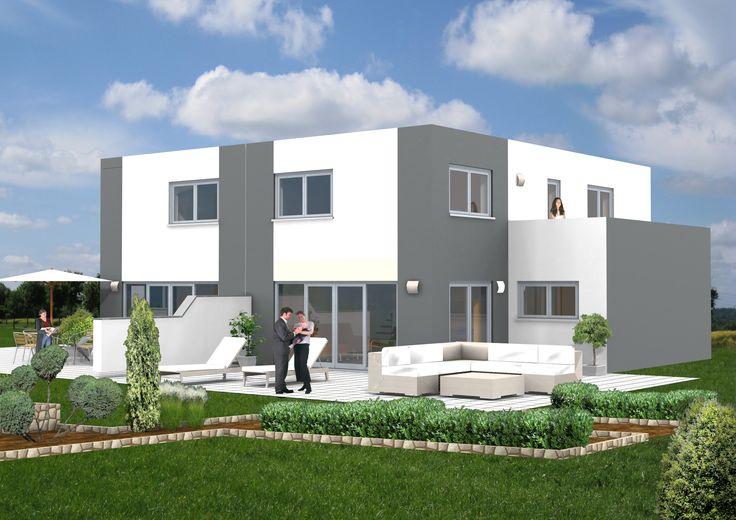 SI-Duo 126 Bauhausstil trifft Doppelhaushälfte!Außenmaß: 12,49 m x 8,74m / Dachneigung 0 Grad/ Kniestock 2,94 m / Gesamtwohnfläche 126,24 m²