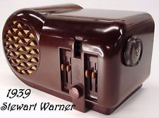 Antique Vintage 1939 Stewart Warner Senior Varsity Art Deco Bakelite Tube Radio