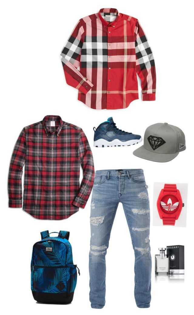 """Mens"" by jarasi on Polyvore featuring Bulgari, Diamond Supply Co., Vans, adidas, NIKE, 3x1, Brooks Brothers, Burberry, men's fashion y menswear"