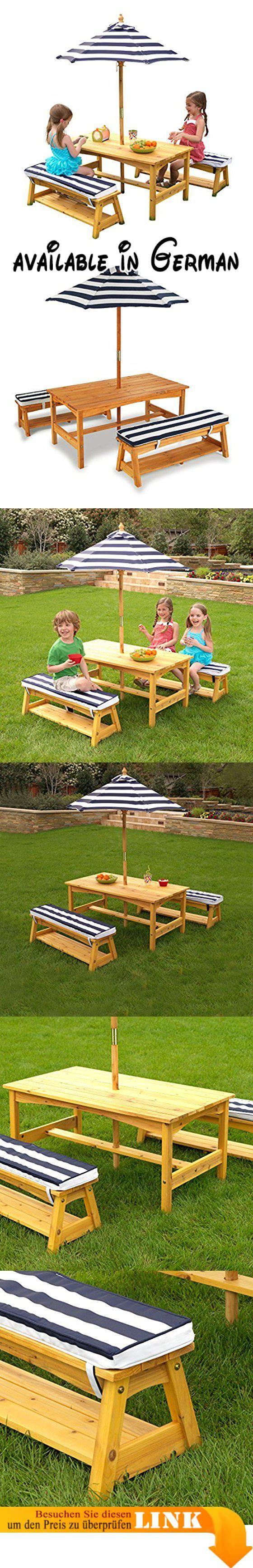 KidKraft - Gartentischset mit Bank, Kissen und Sonnenschirm – Marineblau-weiß gestreift. Zusammenfaltbarer Sonnenschirm. Robuster Tisch, Bänke und zwei Stühle. Kürzere Aufbauzeit dank vormontierter Elemente. Ideal auf heranwachsende Kinder abgestimmt. Hergestellt aus witterungsbeständigem Holz #Toy #TOYS_AND_GAMES