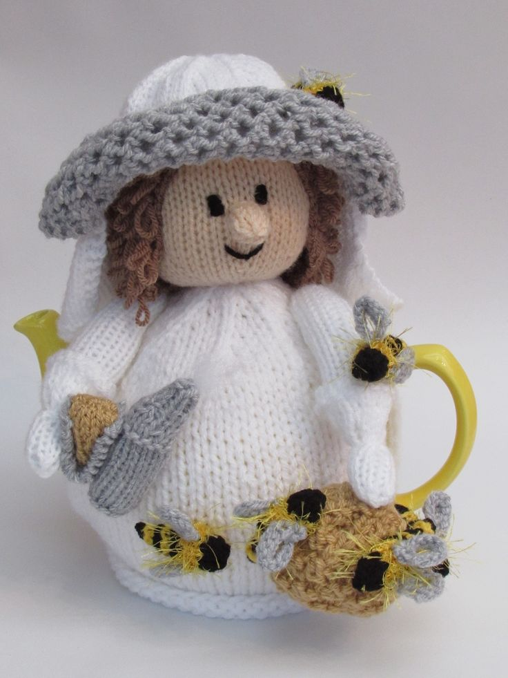 Beekeeper Tea Cosy knitting pattern - create a buzz at tea time http://www.teacosyfolk.co.uk/Beekeeper-Tea-cosy-p-145.php