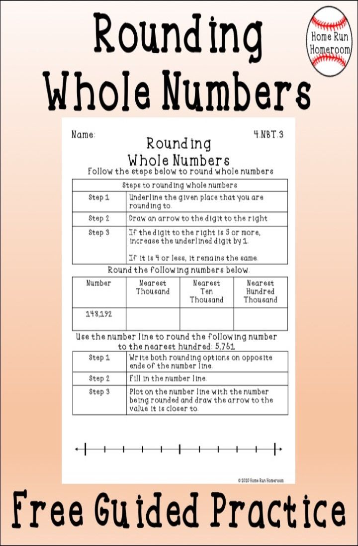 Rounding Whole Numbers Worksheet FREE Guided Practice {4.NBT.3}   Learning  math [ 1098 x 720 Pixel ]