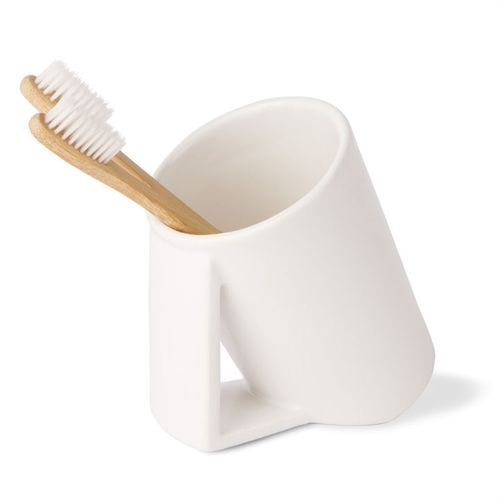 WS Bath Collections Saon-44025 Saon Ceramic Toothbrush Holder in White