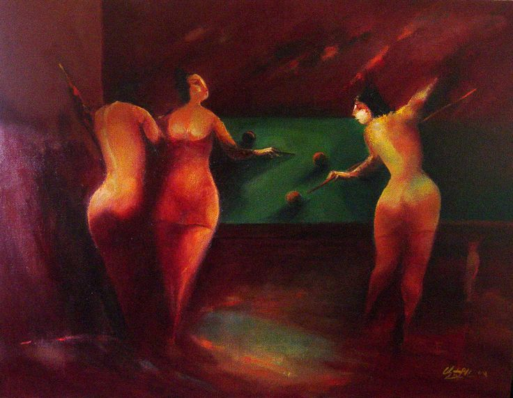 """Billiards №3"" oil on canvas, 75x60"
