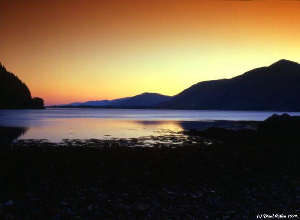 Sunset over Loch Linnhe, near Fort William, Lochaber, Scotland.