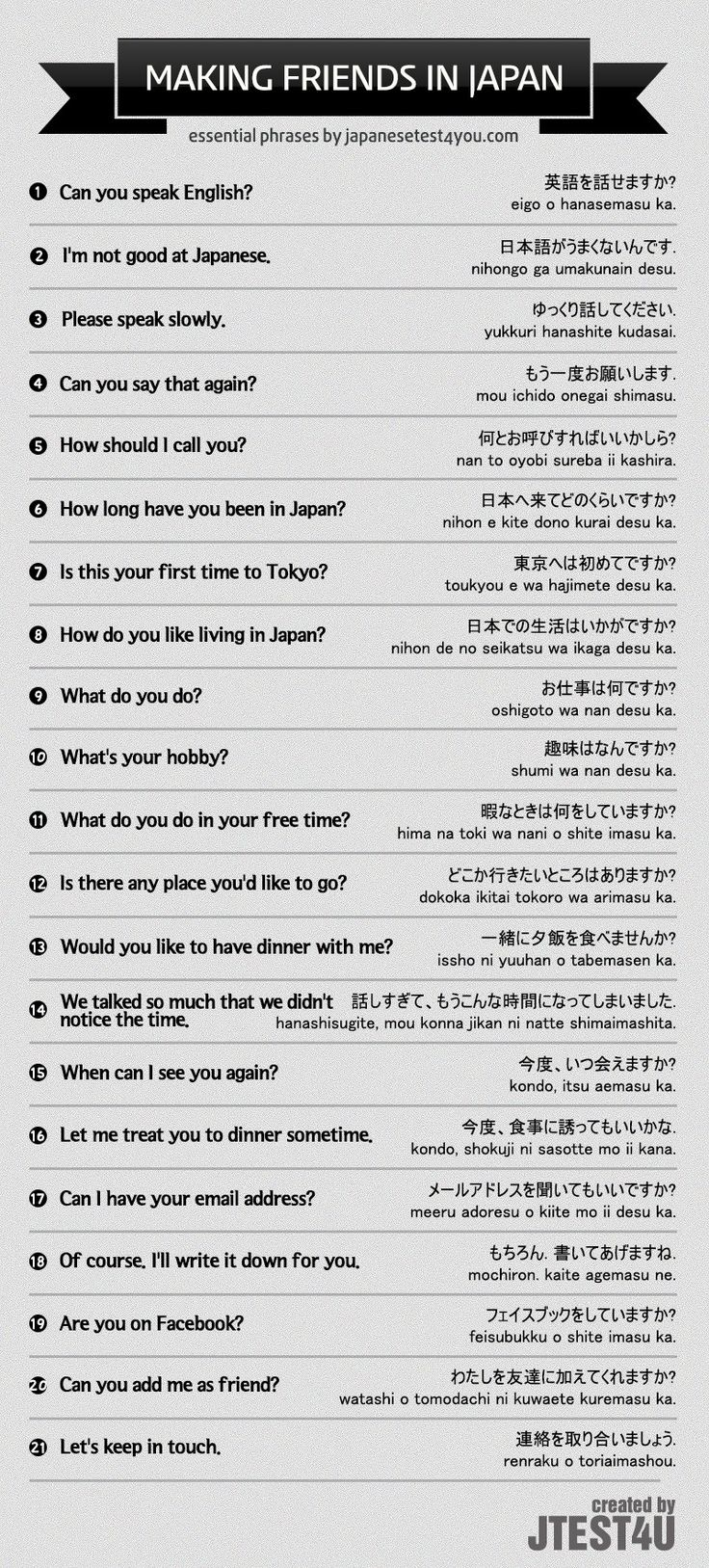 Infographic: Japanese phrases for making new friends. http://japanesetest4you.com/infographic-japanese-phrases-making-new-friends/